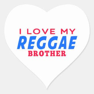 Eu amo meu irmão da dança da reggae adesivos de corações