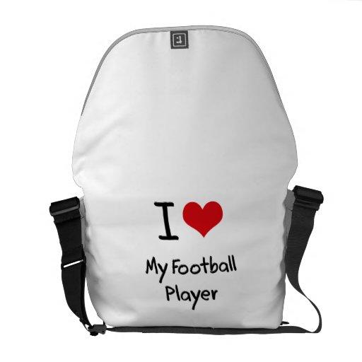 Eu amo meu jogador de futebol bolsa mensageiro
