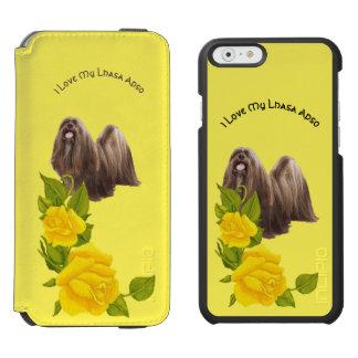 Eu amo meu Lhasa Apso e rosas amarelos Capa Carteira Incipio Watson™ Para iPhone 6