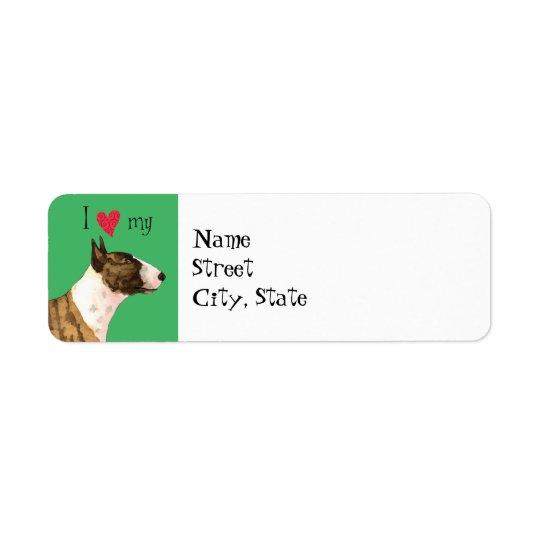Eu amo meu mini bull terrier etiqueta endereço de retorno