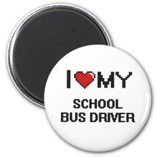 Eu amo meu motorista de auto escolar ímã redondo 5.08cm