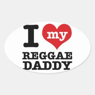 Eu amo meu pai do dançarino da reggae adesivo oval