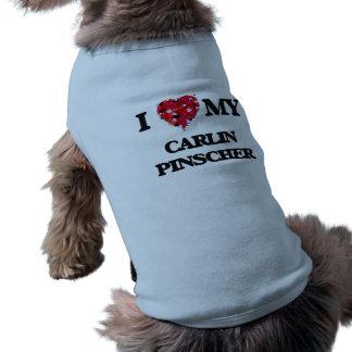Eu amo meu Pinscher de Carlin Camisa Sem Mangas Para Cachorro