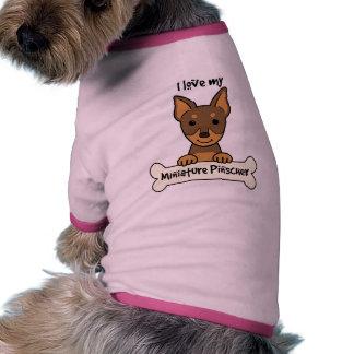 Eu amo meu Pinscher diminuto Camisas Para Caes