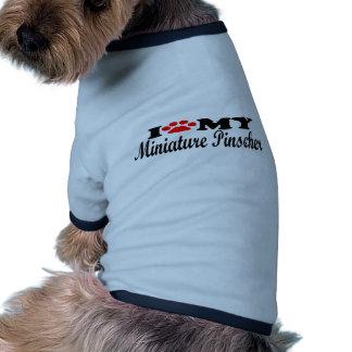 Eu amo meu Pinscher diminuto Camisetas Para Cães