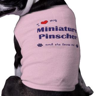 Eu amo meu Pinscher diminuto (o cão fêmea) Camisa Sem Mangas Para Cachorro
