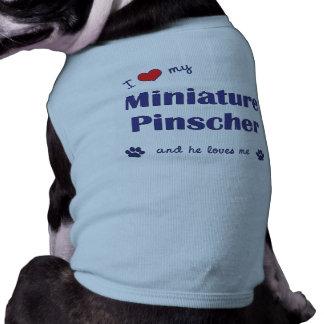 Eu amo meu Pinscher diminuto o cão masculino Camiseta Para Cães