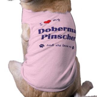 Eu amo meu PInscher do Doberman (o cão fêmea) Camisa Sem Mangas Para Cachorro