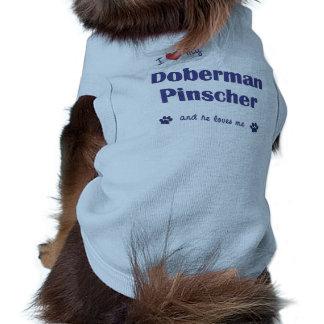 Eu amo meu PInscher do Doberman (o cão masculino) Camisa Sem Mangas Para Cachorro