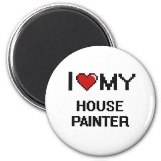 Eu amo meu pintor de casa ímã redondo 5.08cm