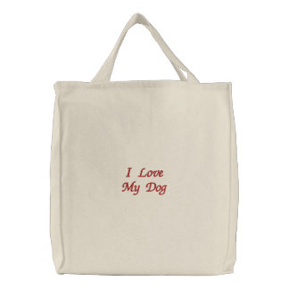 Eu amo meu saco bordado cão bolsa