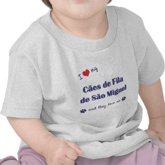 Eu amo meu Sao Miguel de Caes de Filamento de os Camisetas