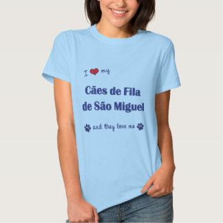 Eu amo meu Sao Miguel de Caes de Filamento de (os Tshirt