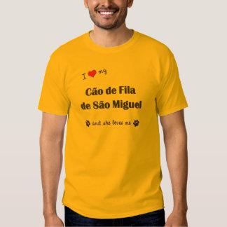 Eu amo meu Sao Miguel de Cao de Filamento de (o cã T-shirt
