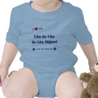Eu amo meu Sao Miguel de Cao de Filamento de (o Macacãozinho Para Bebê