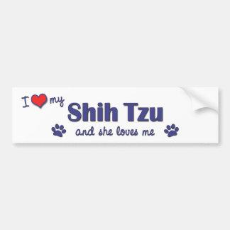 Eu amo meu Shih Tzu (o cão fêmea) Adesivo Para Carro
