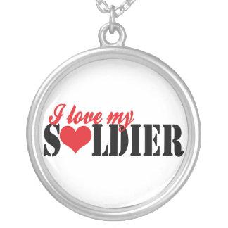 Eu amo meu soldado colar com pendente redondo