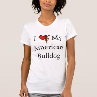 Eu amo meus coração e fita americanos do buldogue t-shirt