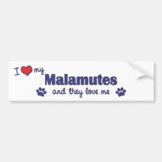 Eu amo meus Malamutes (os cães múltiplos) Adesivo Para Carro