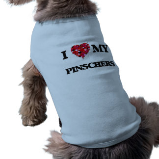 Eu amo meus Pinschers Camisa Sem Mangas Para Cachorro