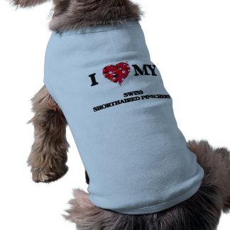 Eu amo meus Pinschers de cabelos curtos suíços Camisa Sem Mangas Para Cachorro