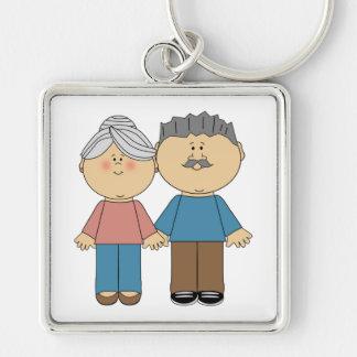 Eu amo minhas avós chaveiro quadrado na cor prata