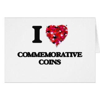 Eu amo moedas comemorativas cartão comemorativo