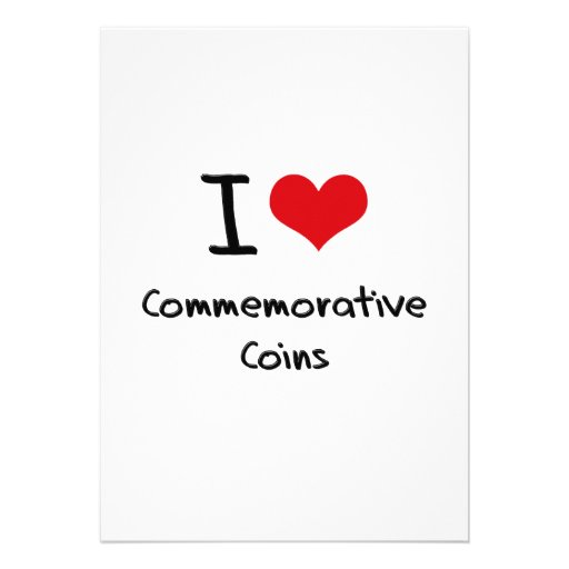 Eu amo moedas comemorativas convites personalizado