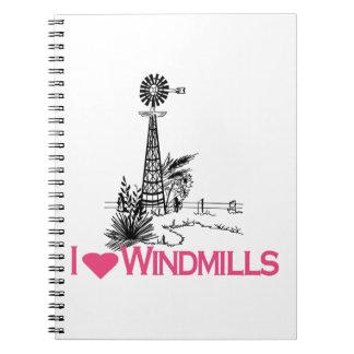 Eu amo moinhos de vento caderno