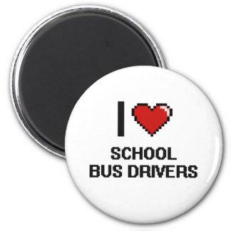 Eu amo motoristas de auto escolar ímã redondo 5.08cm