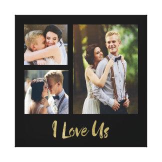 Eu amo-nos canvas do casamento do roteiro do ouro