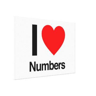 eu amo números impressão em tela