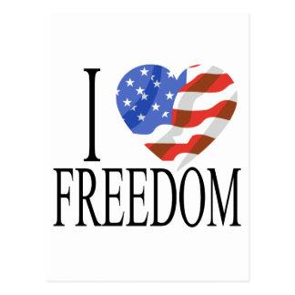 Eu amo o americano do coração da bandeira dos E.U. Cartão Postal