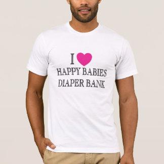 Eu amo o banco feliz da fralda dos bebês t-shirts