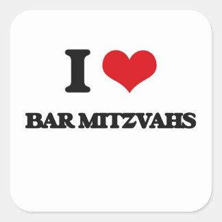 Eu amo o bar Mitzvahs Adesivo Em Forma Quadrada