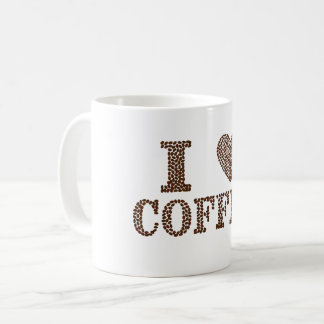 Eu amo o café na caneca do valor dos feijões