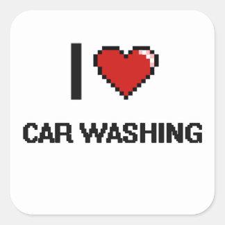 Eu amo o carro que lava o design retro de Digitas Adesivo Quadrado