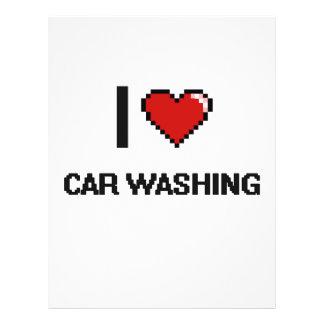 Eu amo o carro que lava o design retro de Digitas Flyer 21.59 X 27.94cm