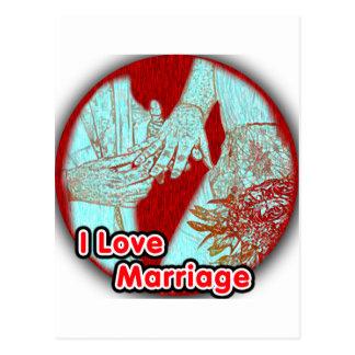 Eu amo o casamento contratado cartão postal