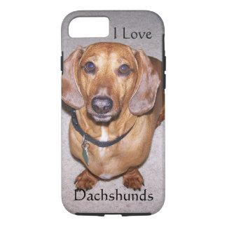 Eu amo o caso do iPhone 7 dos Dachshunds Capa iPhone 8/7