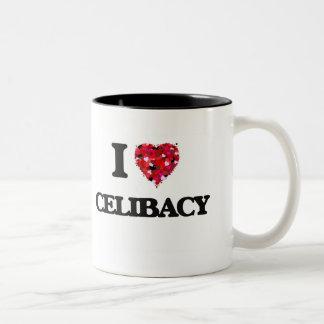 Eu amo o celibato caneca dois tons
