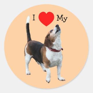 Eu amo o coração minha etiqueta do cão do lebreiro adesivos redondos