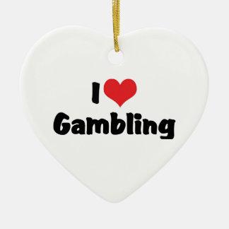 Eu amo o coração que jogo - amante do casino de ornamento de cerâmica coração