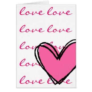 Eu amo o coração Você-Cor-de-rosa Cartoes
