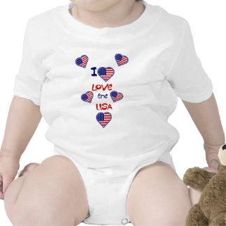 Eu amo o Creeper americano da criança dos corações Macacões