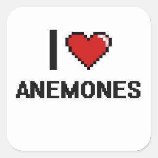 Eu amo o design de Digitas das anêmonas Adesivo Quadrado