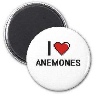 Eu amo o design de Digitas das anêmonas Ímã Redondo 5.08cm