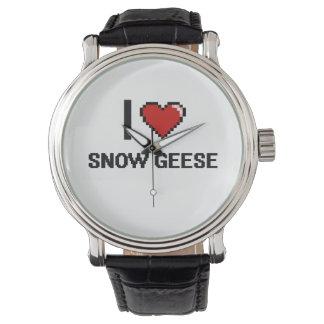 Eu amo o design de Digitas dos gansos de neve Relógio De Pulso