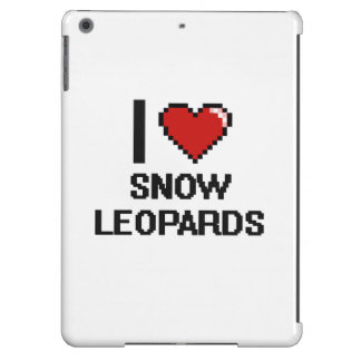 Eu amo o design de Digitas dos leopardos de neve Capa Para iPad Air