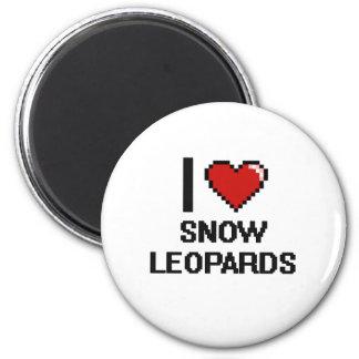 Eu amo o design de Digitas dos leopardos de neve Ímã Redondo 5.08cm